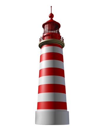 business metaphore: Lighthouse on a white background  Stock Photo