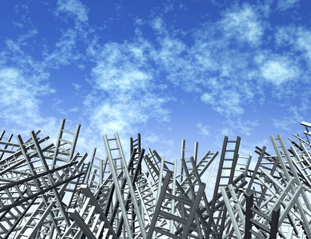 disoriented: Ladders in disoriented directions as a business and financial icon of uncertainty and obstacles   Stock Photo