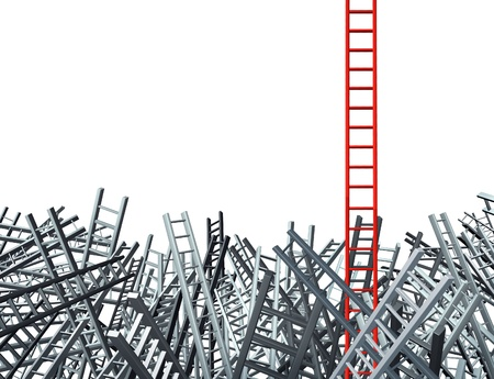 disoriented: ladder standing out from a group of confused as grey ladders in disoriented directions
