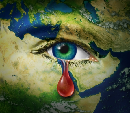 An eye that is crying a red tear of blood as a symbol of the brutality and tragic victims of war and conflict