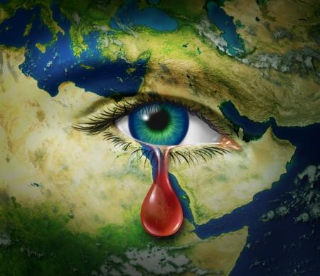 Een oog dat een rode traan van bloed huilt als een symbool van de wreedheid en tragische slachtoffers van oorlog en conflict