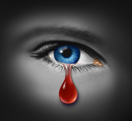 Violent crime concept with a close up of an eye ball crying with a tear of blood