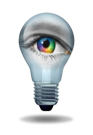 Creatieve visie met een oog als een veelkleurige macro van een menselijke oogbol Stockfoto