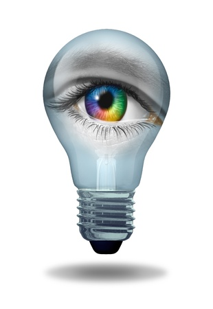 Creative vision with an eye as a multicolored macro of a human eyeball  Archivio Fotografico