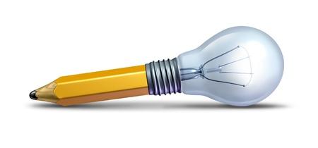 pensamiento creativo: El dise�o y la innovaci�n como un icono de las ideas creativas con un l�piz y una bombilla de luz