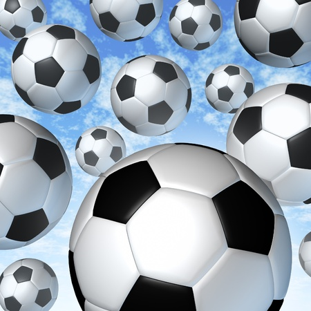 Flying soccer balls in the air Stock Photo - 12668022