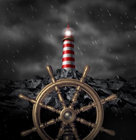 timon de barco: Las decisiones de liderazgo y la estrategia de navegaci�n Foto de archivo