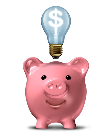 saving energy: Pink piggy bank with an idea light bulb with a dollar sign shinning bright on a white background