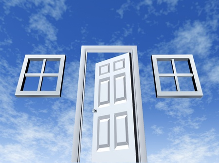 better chances: Open door to opportunity with windows and entrance on a sky background  Stock Photo