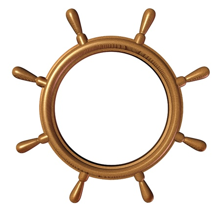 Ship wheel with a blank editable center   photo
