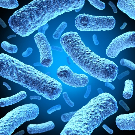infections: Bacteria and bacterium cells floating in microscopic space