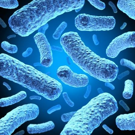 bacterias: Las bacterias y células bacteria flotando en el espacio microscópico Foto de archivo