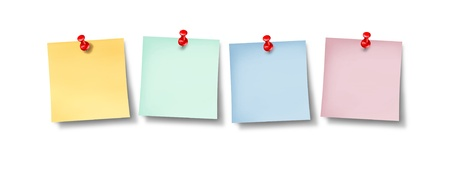thumb tack: Blank office sticky notes  Stock Photo