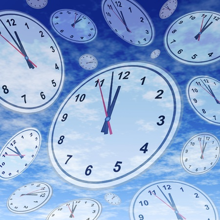 out time: Symbol of the stress of running out of time with clocks and watches floating in space over a blue sky background  Stock Photo