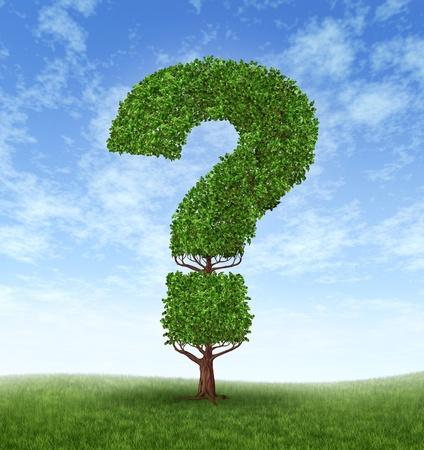 signo de interrogaci�n: Informaci�n crecimiento con un �rbol en forma de un signo de interrogaci�n
