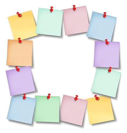 thumb tack: Office notes blank frame with several memos pinned