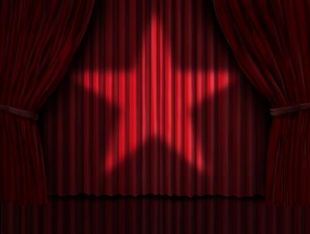 rideaux rouge: Rideaux rouges avec une shinning la lumi�re des �toiles sur les rideaux de velours sur une sc�ne Banque d'images