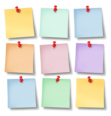 Reminder office notes with six blank paper memos  Stock Photo - 12668096