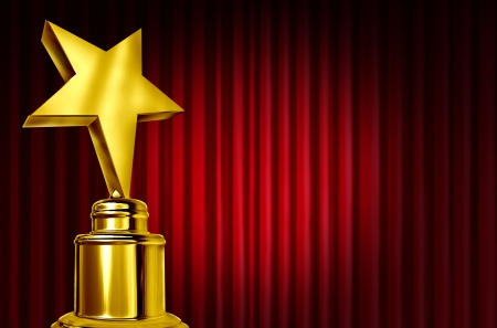 theatre symbol: Star award on red curtains or velvet drapes with a spot light