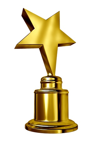 award winning: Gold Star Award on a blank metal trophy isolated on white  Stock Photo