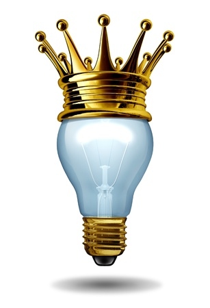 Best ideas concept with a light bulb and a gold crown as an icon of winning creativity and innovation  Stock Photo