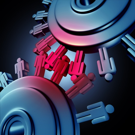rivalry: Employee friction in the work place using the icons of gears and cogs grinding together  Stock Photo