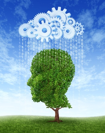 precipitaci�n: �rbol verde en forma de una cabeza humana