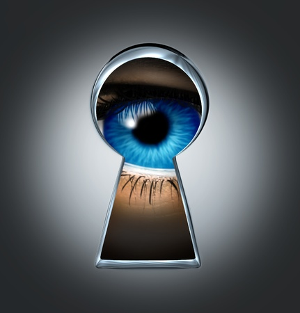 big brother spy: Eye looking through a keyhole
