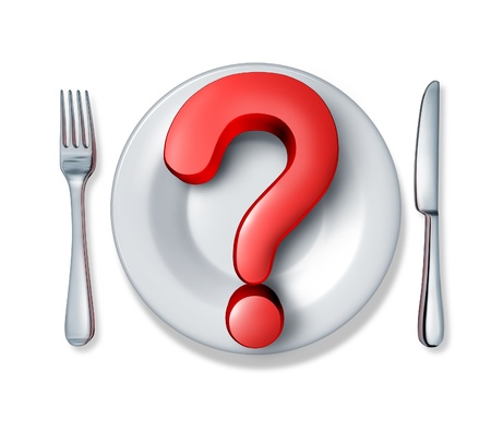 allergy questions: Red dimensional question mark with a dinner plate and silverware table setting  Stock Photo