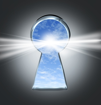 keyholes: Key to success with an open keyhole to a bright future  Stock Photo