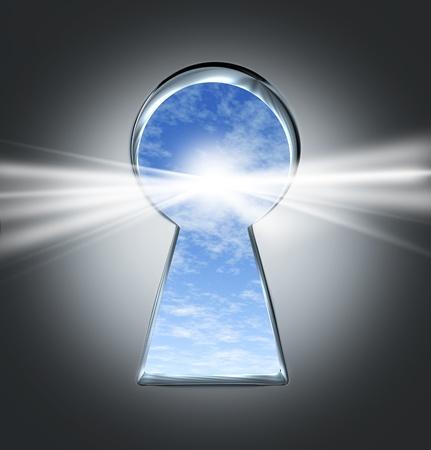 tunnel di luce: La chiave del successo con un buco della serratura aperta ad un futuro luminoso Archivio Fotografico