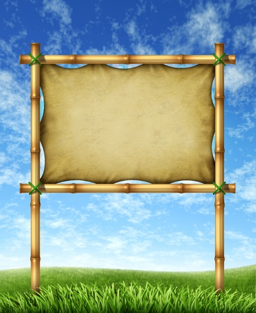 Vacation sign billboard made of bamboo sticks  photo