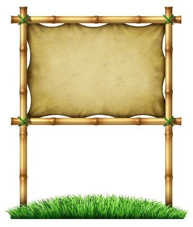 bamboo stick: Tropical blank billboard sign made of bamboo  Stock Photo