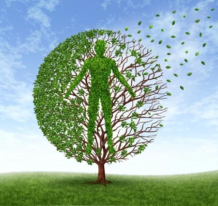 illnesses: El envejecimiento y la enfermedad con un �rbol y hojas con ramas en forma de un viejo follaje humana perder como un s�mbolo de la muerte y el sufrimiento de la p�rdida de salud debido a una enfermedad relacionada con la edad como el Alzheimer y la demencia o el c�ncer terminal Foto de archivo