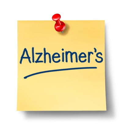 Alzheimers neurological disease with yellow sticky paper reminder office note