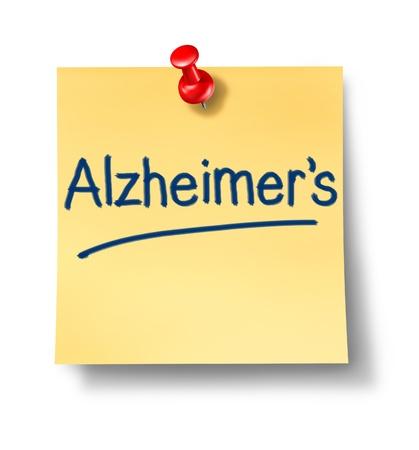 enfermedades mentales: La enfermedad de Alzheimer enfermedad neurol�gica con la nota amarilla pegajosa de papel de oficina recordatorio