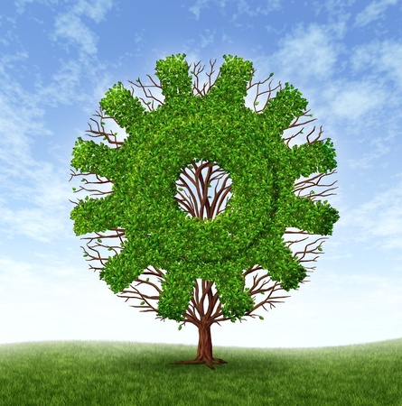 Growing business concept with a tree and branches with leaves in the shape of a machine gear or cog as an industrial symbol of financial success through investment and leadership on a blue sky  photo