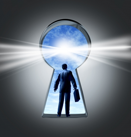 Career and job opportunities with a key hole symbol of a new business oportunity and a business person with a breifcase entering a new employment or financial market for success and profit