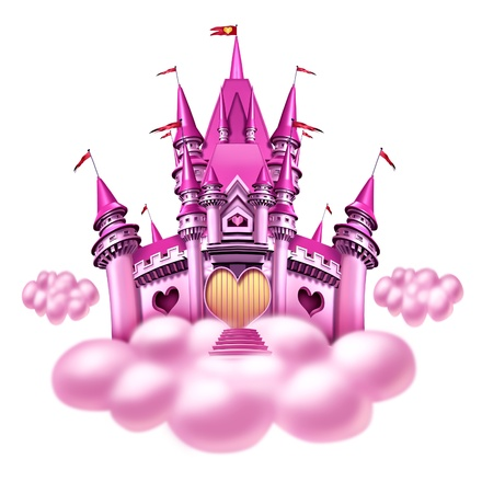 fantasy: Fantasy princess cloud castle with a fun pink magical kingdom floating on a fluffy cloud as a girls toy dream or dreaming of a fairy tale of nobility with heart shapes and magic elegance