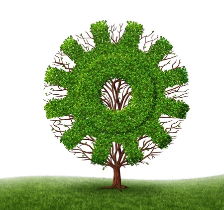 Growing Economy and business concept with a tree and branches with leaves in the shape of a machine gear or cog as an industrial symbol of financial success through investment and leadership on a white background