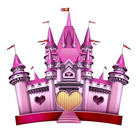 fantasy castle: Princess Pink Castle as an elegant  magical fairy tale kingdom as a fantasy toy for little girls and females in celebration of imagination and part fun fit for a queen with girlish joy