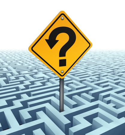 Questions searching for solutions as a yellow traffic sign with an arrow shaped in a question mark on a confusing complex dimensional maze and labyrinth dading in perspective to a white background