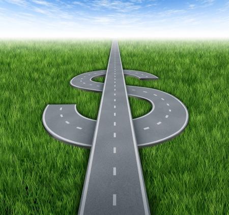 De weg naar rijkdom als awinning financiële concept van geld verdienen en acheiving zakelijk succes met wegen en snelwegen in de vorm van een dollarteken op groen gras en de hemel achtergrond