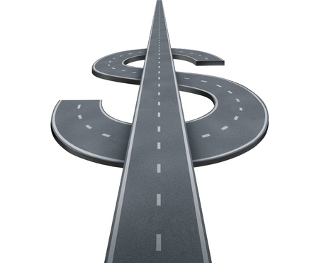 Road to wealth and path to financial success with highway roads in the shape of a dollar or currency money symbol isolated on a white background