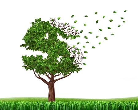 desague: Gastar el dinero de los ahorros y la pérdida de sus inversiones y la gestión de su deuda y el presupuesto financiero con un árbol verde en la forma de un signo de dólar con las hojas cayendo como un icono de la pérdida de la riqueza y la rebaja Foto de archivo