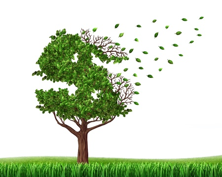 Spending money from savings and losing your investments and managing your debt and financial budget with a green tree in the shape of a dollar sign with leaves falling off as an icon of wealth loss and downgrade photo