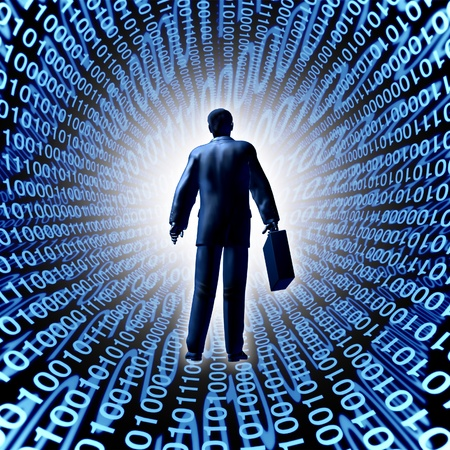Technology business with a man and briefcase entering a binary code cyber company in silicon valley or digital market selling computing electronics and data storage in the virtual cloud managed by high tech servers  photo