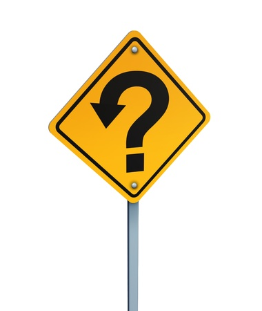 Which way to go and choices concept with a yellow traffic sign with an arrow in the shape of a question mark photo
