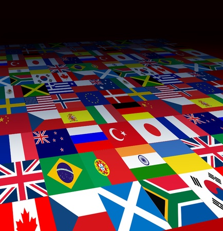 forced perspective: World flags background with the symbols of countries from  the globe in forced perspective fading to black as an icon of international business or communications  Stock Photo