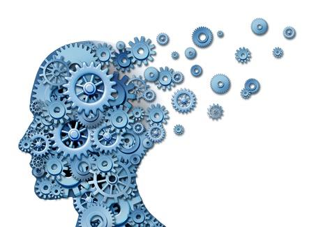 Cerebral y la pérdida de la pérdida de memoria y la inteligencia debido a un trauma neurológico y lesiones en la cabeza o la enfermedad de Alzheimer causada por el envejecimiento, con engranajes y dientes en forma de un rostro humano que muestra la pérdida de la función cognitiva y el pensamiento